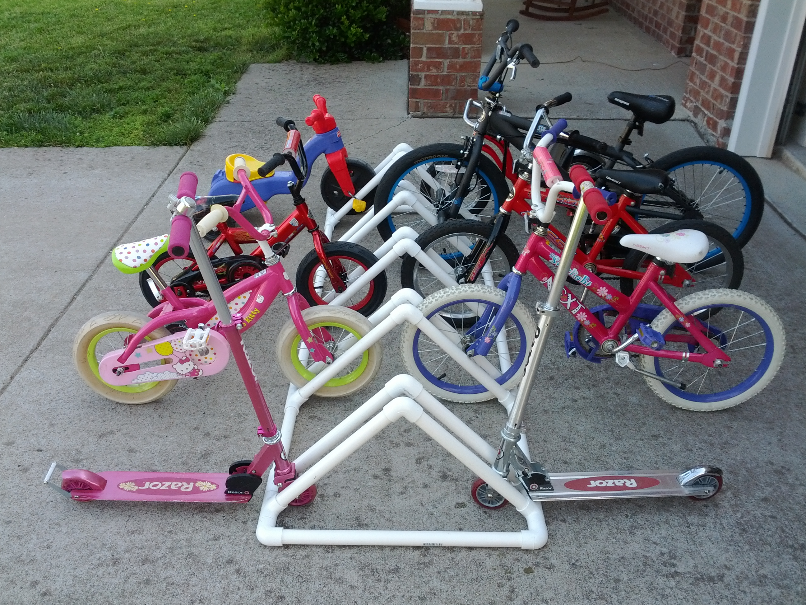 project 4 diy bike rack made from pvc pipe hostess